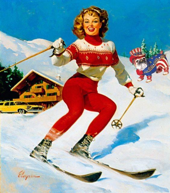 Gil Elvgren Skiing pinup