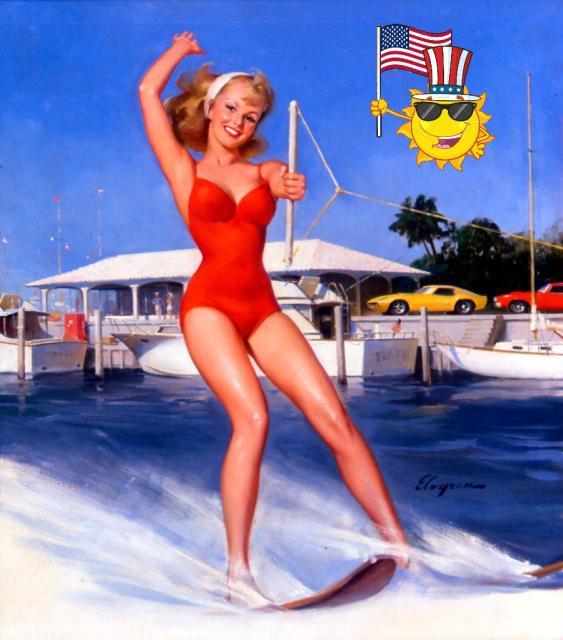 Patriotic Pinup Gil Elvgren Water Skiing