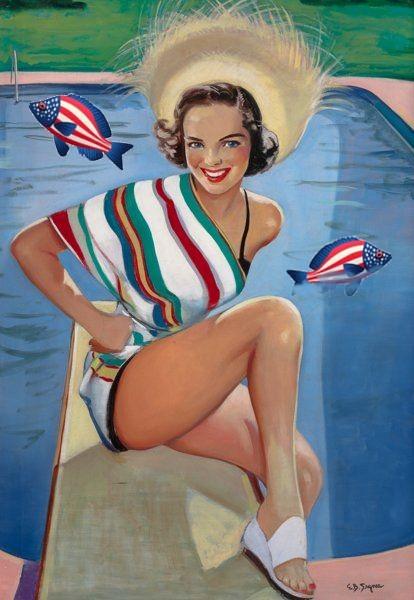 Patriotic Pinup Ellen Segner Pool