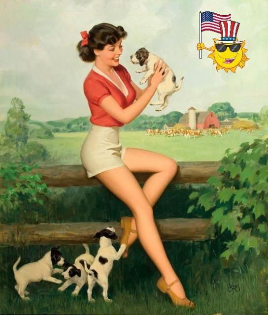 Patriotic Pinup Walt Otto Puppies