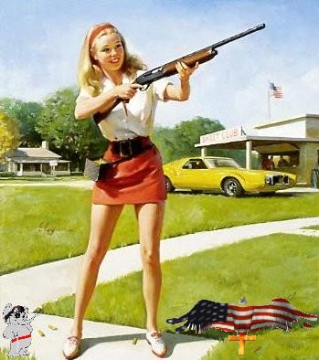 patriotic pinup girls and guns